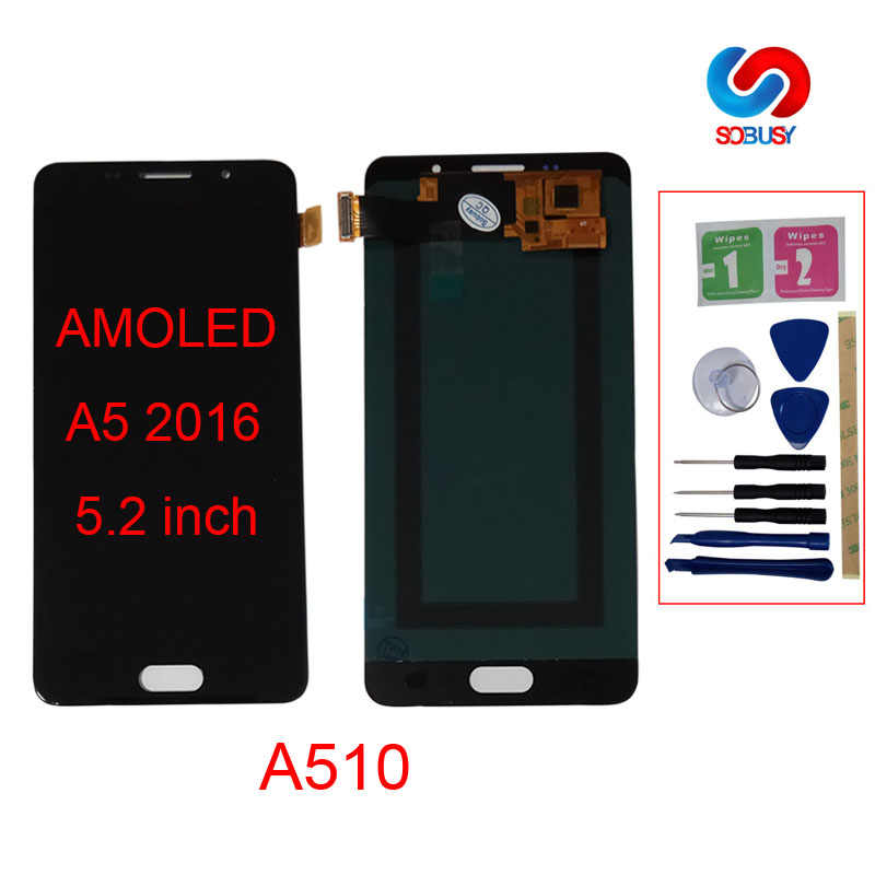 SUPER AMOLED 5.2 ''LCD สำหรับ SAMSUNG Galaxy A5 2016 A510 A510F A510M A510FD จอแสดงผล LCD Touch Screen Digitizer assembly