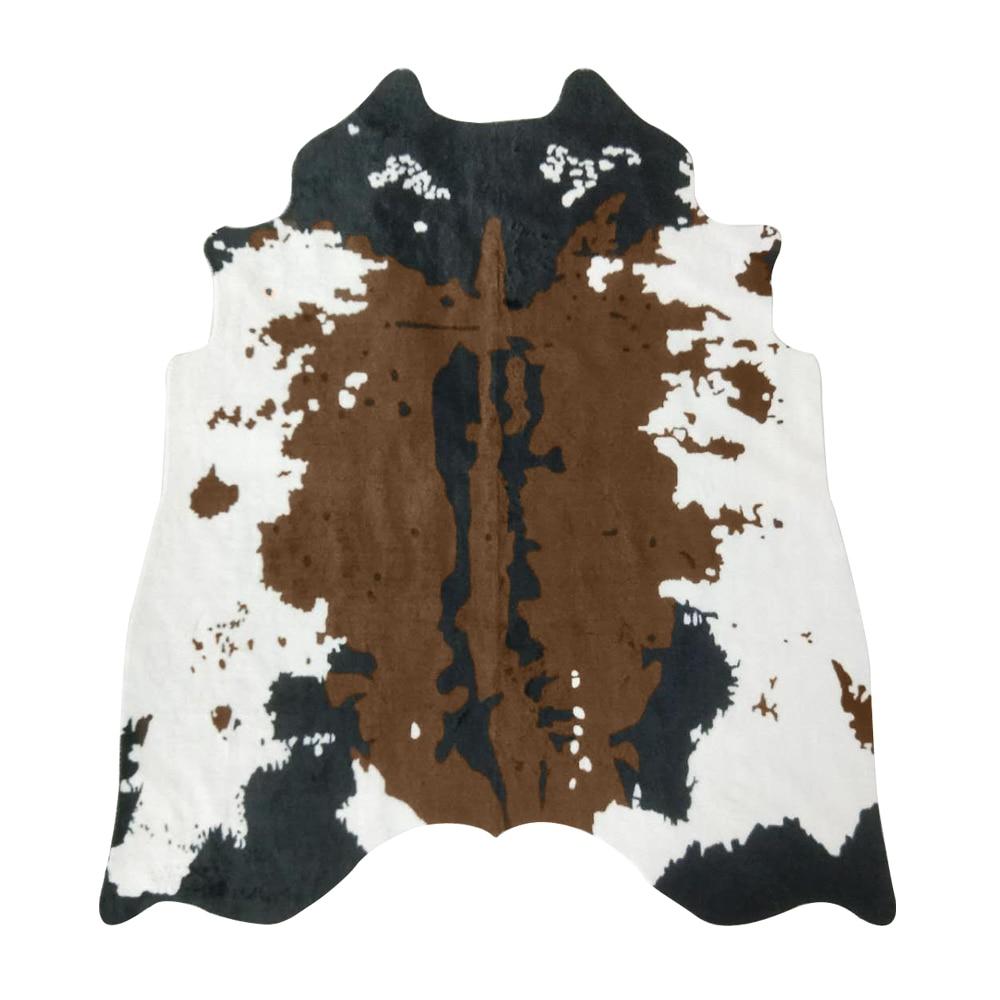 MustHome tapis en fausse fourrure marron tapis en fausse peau de vache Cowboy occidental impression peau de fourrure zone tapis pour salon 140x160 cm