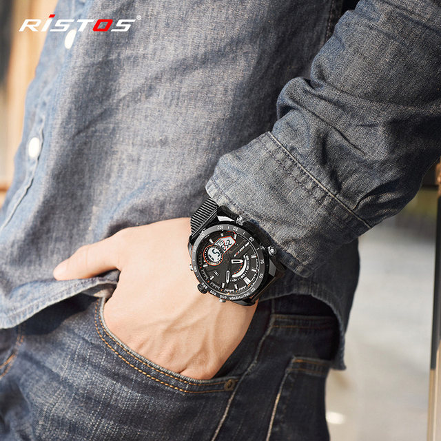 f3f23a30f040 RISTOS Fashion Watch Relojes Masculino Hombre Multifunction Steel Mesh Man  Sport Watches Chronograph Digital Wristwatch Men 9361