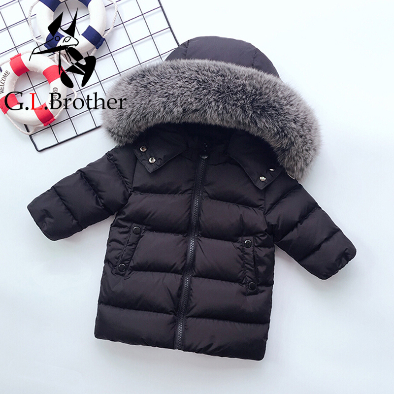 цены на -30 Degree Kids Winter Coat Big Real Fur Collar Toddler Boys Girls Down Coat White Duck Down Children Down Jacket Snow Wear