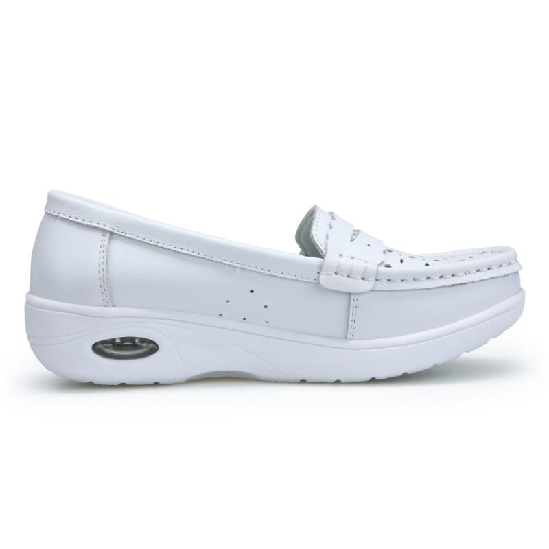Split Chaussures La Coussin D'air Blanc Cuir Respirant Taille Hollow Femmes Confortable Les Infirmiers Travail 01 2018 Creux Plus 02 Femme De Pour En Soins A844qp