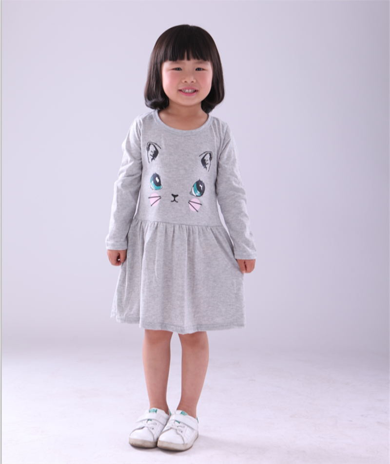 2018 New Arrival spring and autumn girl dress cat print grey baby girl dress children clothing children dress 1-8years
