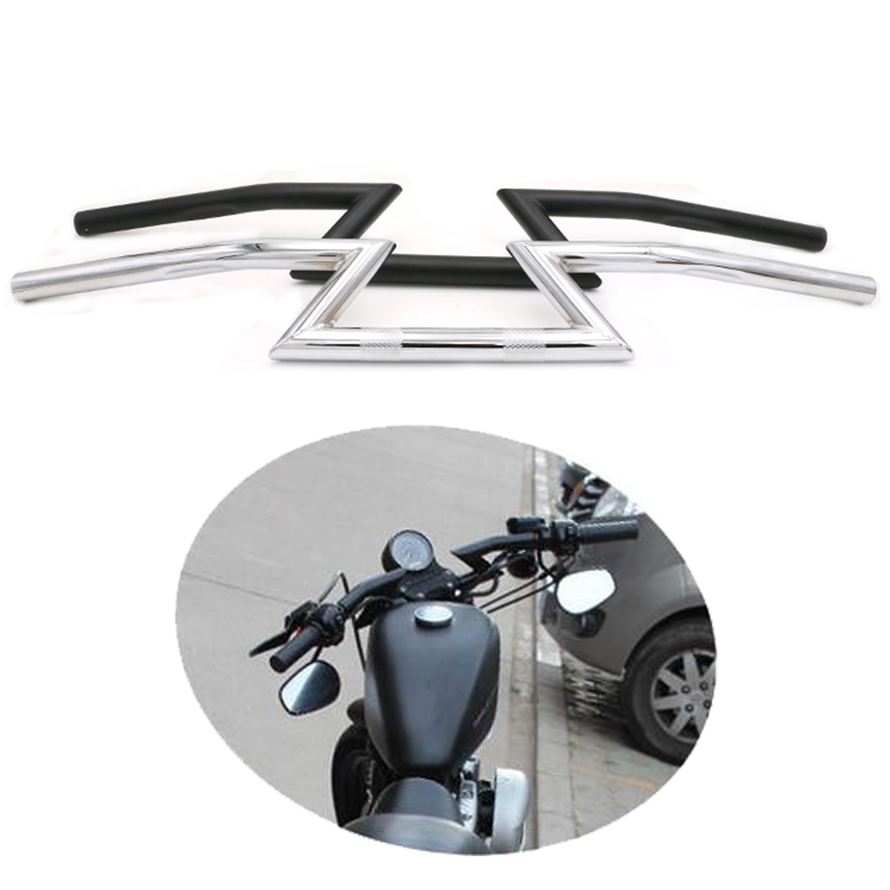 Universal Motorcycle Handlebar 7 8inch 22mm Z Bar For Harley Honda Yamaha Kawasaki Suzuki Chopper Bobber Cafe Racer Black   Chrome