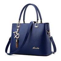 2017 Fashion Women Blue Bag Ladies Brand PU Leather Handbags Spring Casual Tote Bag Big Shoulder Bags For Women Bolso Mujer