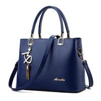 2017 Fashion Women Blue Bag Ladies Brand PU Leather Handbags Spring Casual Tote Bag Big Shoulder