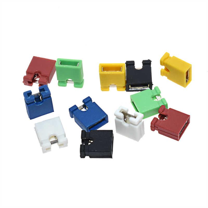 100PCS Pitch jumper kurzschluss-cap & Sockel & Kabelgehäuse 2,54 MM SHUNT Schwarz gelb weiß grün rot blau