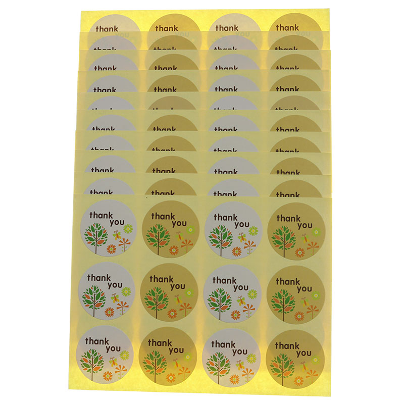 Small Tree Round Label Thank You Seal Sticker Baking Packaging Biscuit Bag Decorative Seal Sticker 120pcs / 10 Sheets