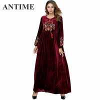 ANTIME Female Velvet Warm Red Dress Pretty Vintage Long Sleeve Tassel Embroidery Thick Floral Autumn Winter Ankle Length O Neck