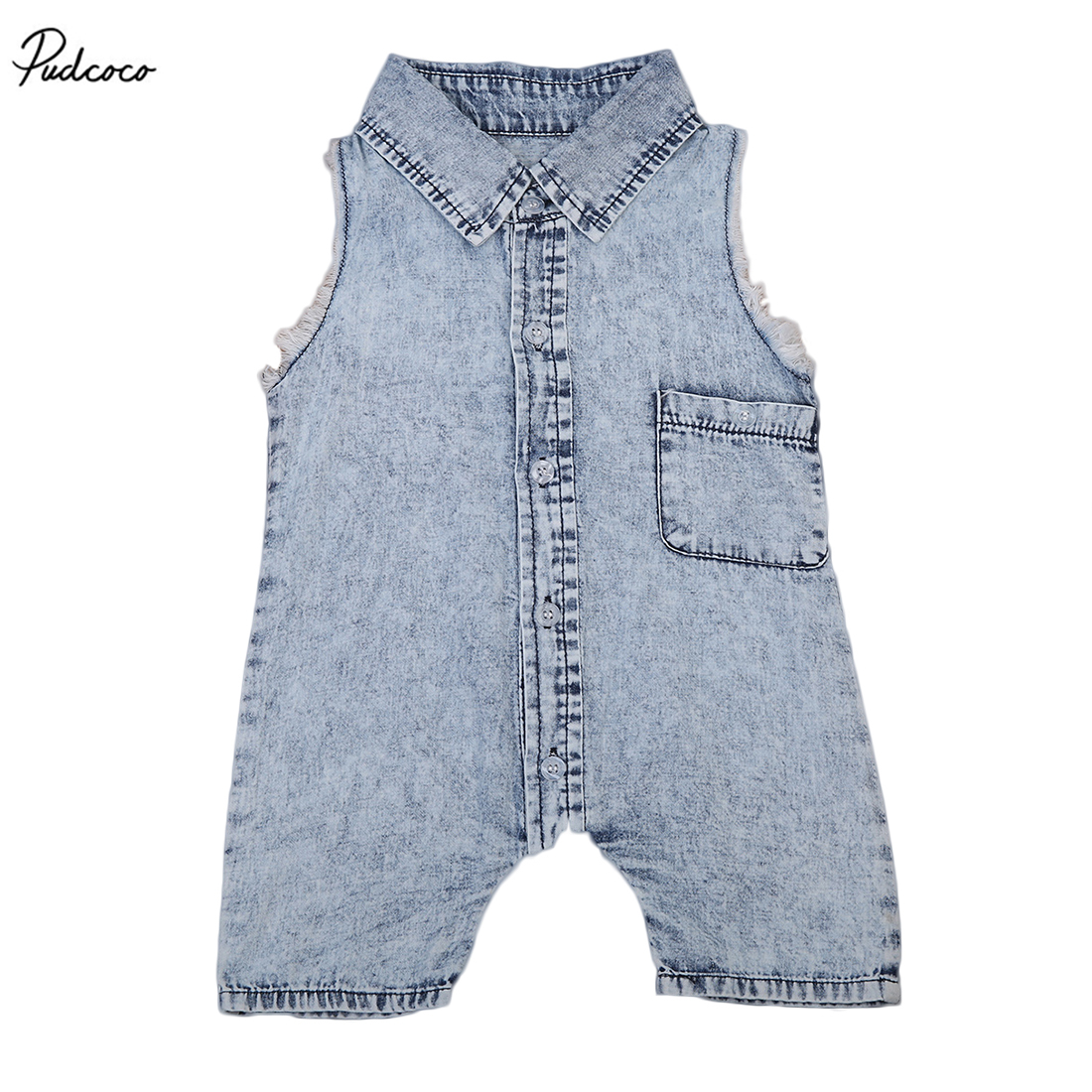 Denim Newborn Baby 2017 New Summer Sleeveless   Romper   Infant Boys Girls Clothes Outfit