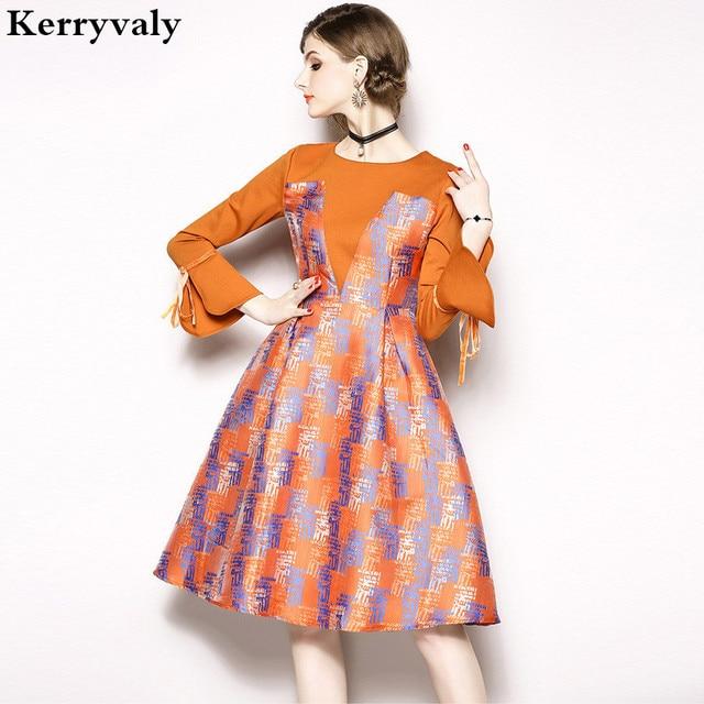 789959381 Autumn Jacquard Dress Long-sleeved Midi Dress Vestidos Mujer 2019 Splice  Women Runway Christmas Glitter