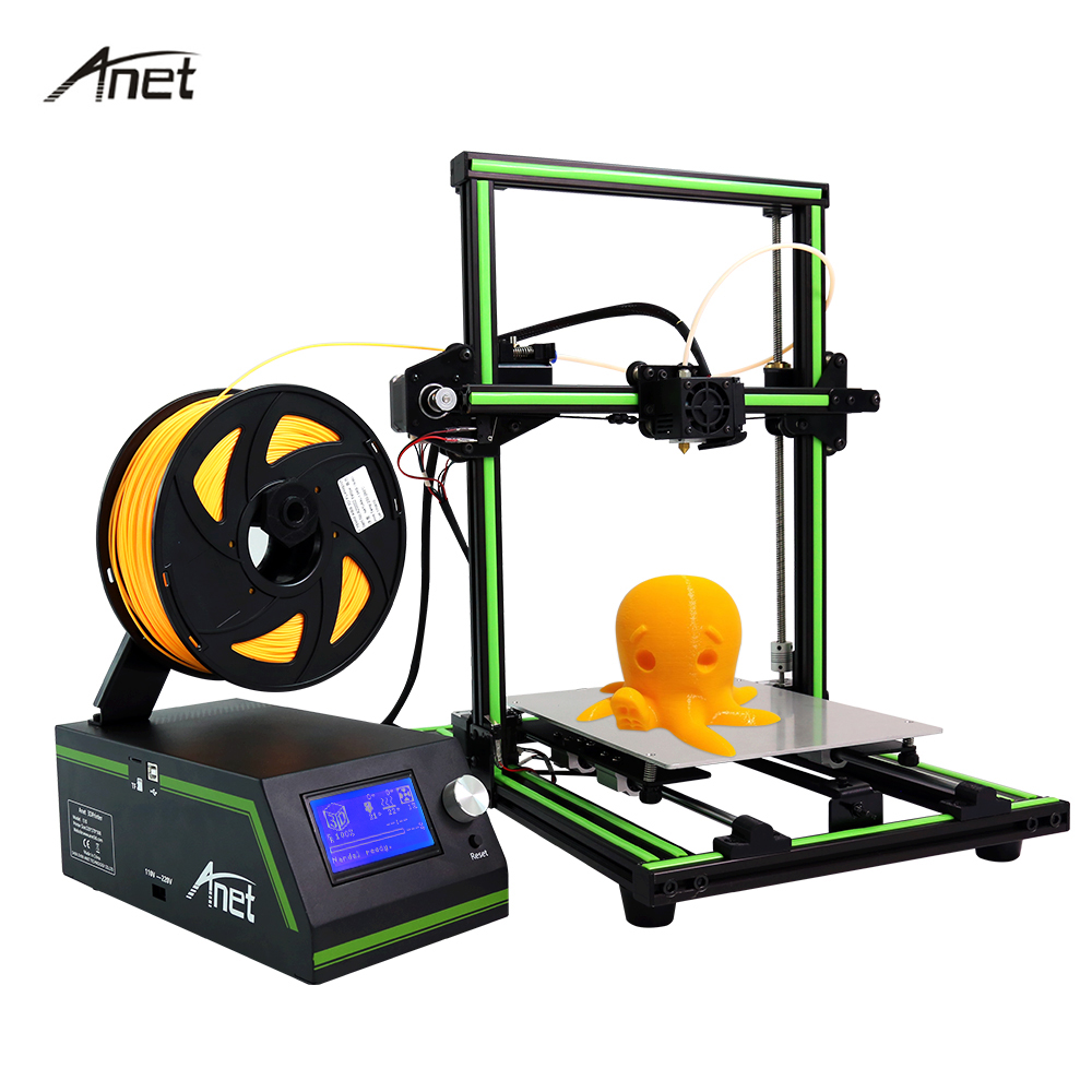 Newest Anet E10 Aluminum Frame 3D Printer High Precision Reprap Prusa i3 Large Size DIY 3D Printer Set Gift Filament SD Card 2017 newest geeetech aluminum 3d printer diy kit support 5 filament 1 75mm 0 3mm 0 35mm