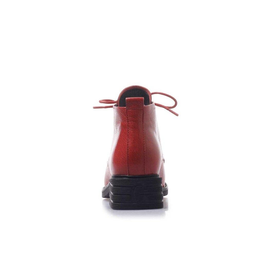 Krazing Topf neue ankunft schafe leder runde kappe med ferse warm lace up Britischen schule junge mädchen Oxfords ankle stiefel L56-in Knöchel-Boots aus Schuhe bei  Gruppe 3
