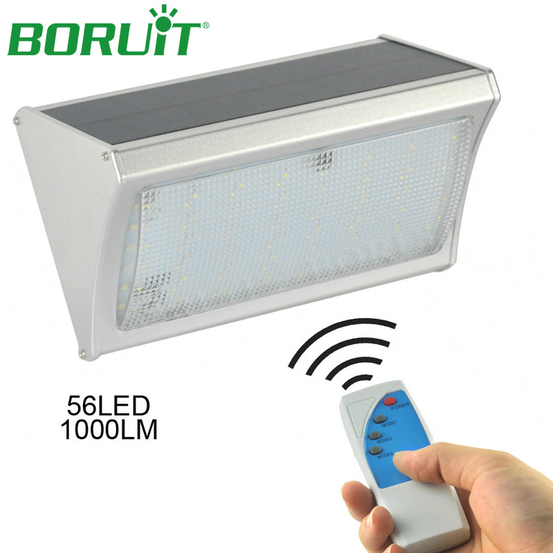 BORUiT 1000lm 56 LEDs Radar Sensor Wall Lamp 3 Modes Remote Solar Light for Garden Yard Hallway Porch Light Solar Street Lamp