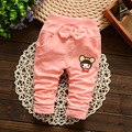 Retail! spring new Korean baby boy girl cartoon bow pocket knit pants cotton trousers baby girls 1-2 years old free shipping
