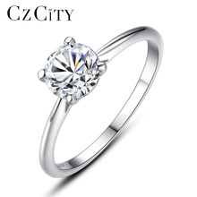 CZCITY Classic Four Paws 6mm Clear Zircon Stone Real 925 Silver Ring for Wedding Bridal Fine Jewelry Engagment Finger Rings Gift
