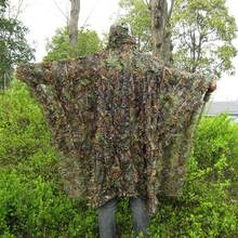 Cloak dress Hunting clothes New 3D maple leaf Bionic Ghillie Yowie sniper birdwatch airsoft Camouflage Clothing jacket(China)