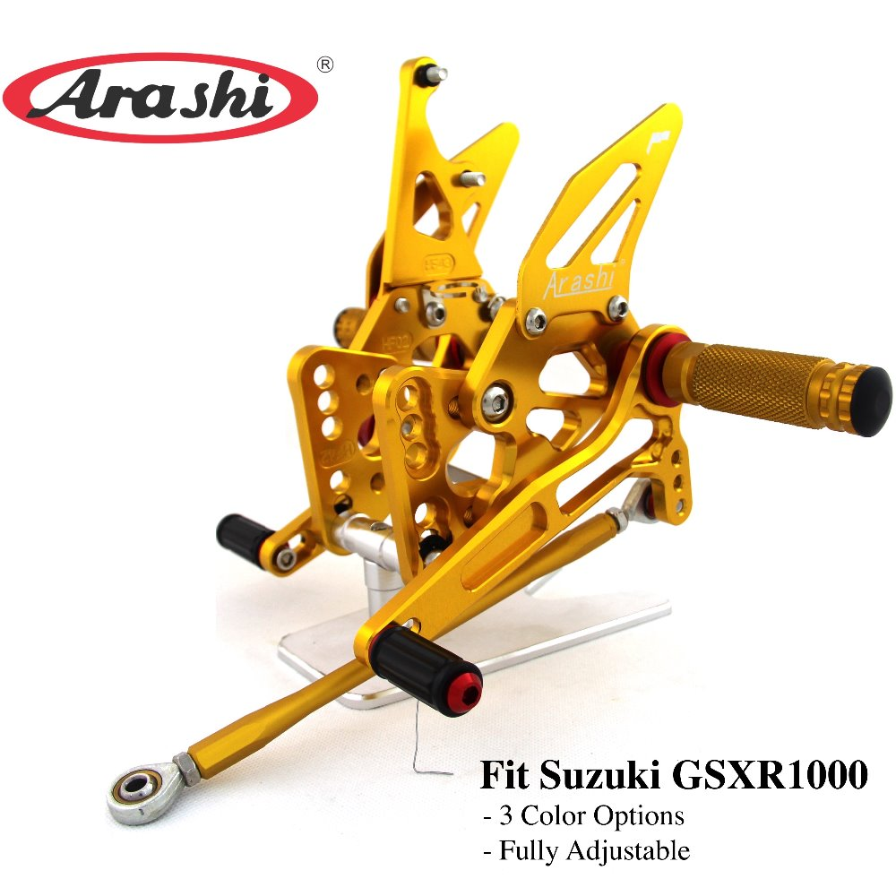 Arashi Pour SUZUKI GSXR1000 2005 2006 K5 K6 1 set CNC Rider Rearset Réglable Repose-pieds Pied Peg GSX1000R GSXR GSX-R 1000 05 06
