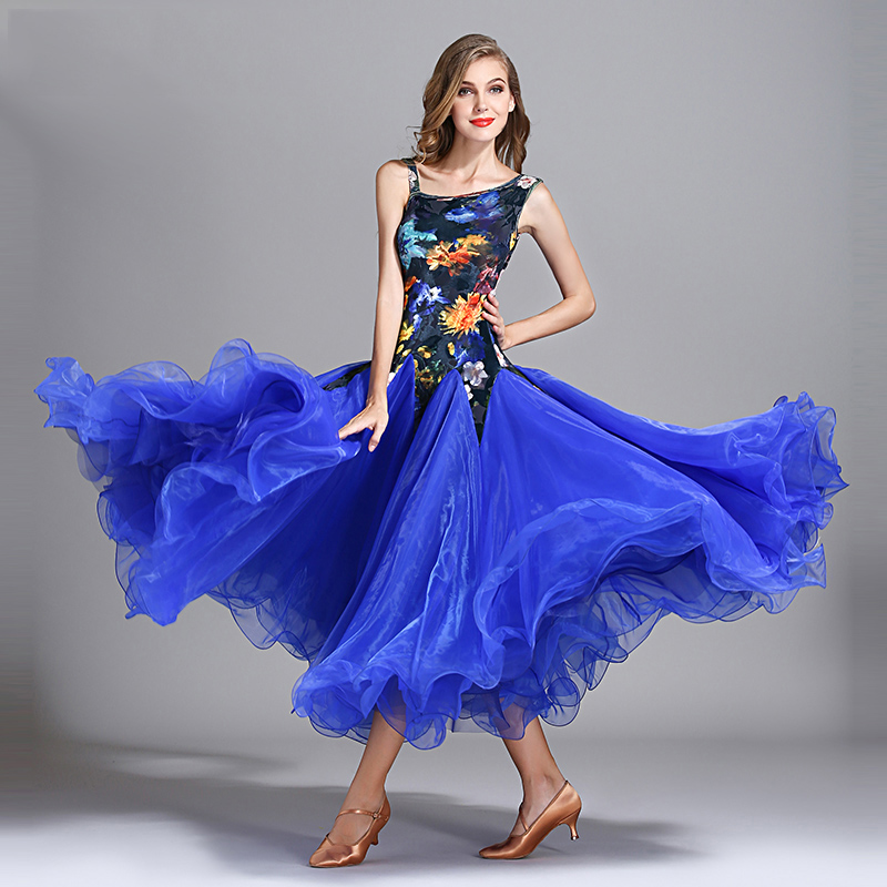 2019 Ballroom Dress Sleeveless Velvet Printing Standard Dance Dresses Women Waltz Stage Spanish Flamenco Performance Wear DN2982