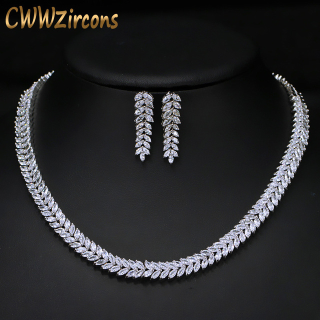Cwwzircons Exquisite Cubic Zirconia Wedding Party Jewelry Set Leaves Shape High Quality Cz Bridal Necklace Earring