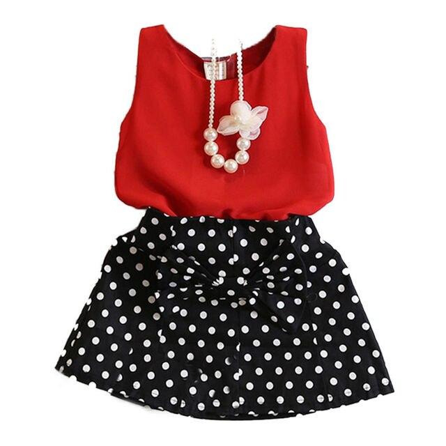 a514738e6 Girls Clothes 2017 Girl Clothing Sets Kids Clothes Dot Children Clothing  Toddler Girl Red Sleeveless Tank Tops+ Dot Skirt