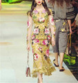 runway 2017 women fashion gold embroidery see through beige mesh floral fringed dress round neck long sleeve a-line maxi dress
