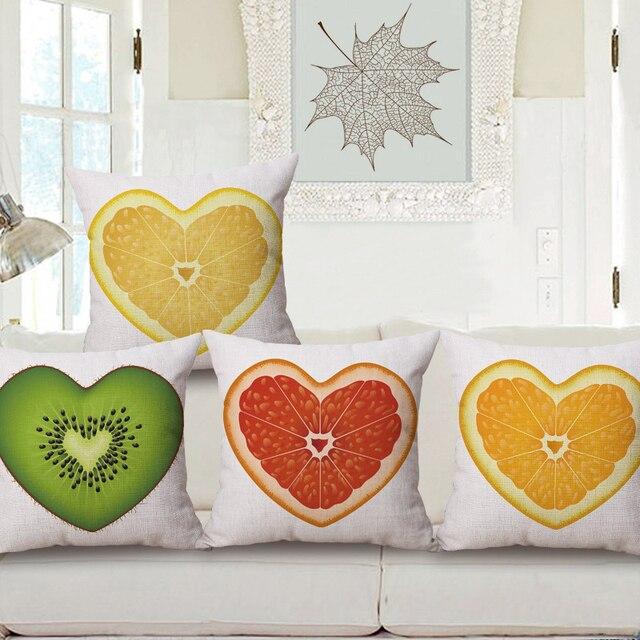Сердце фрукты площади Кофе бар Домашний Декор Подушки хлопок белье Талия cojins диван-кровать автомобиль Декоративные подушки