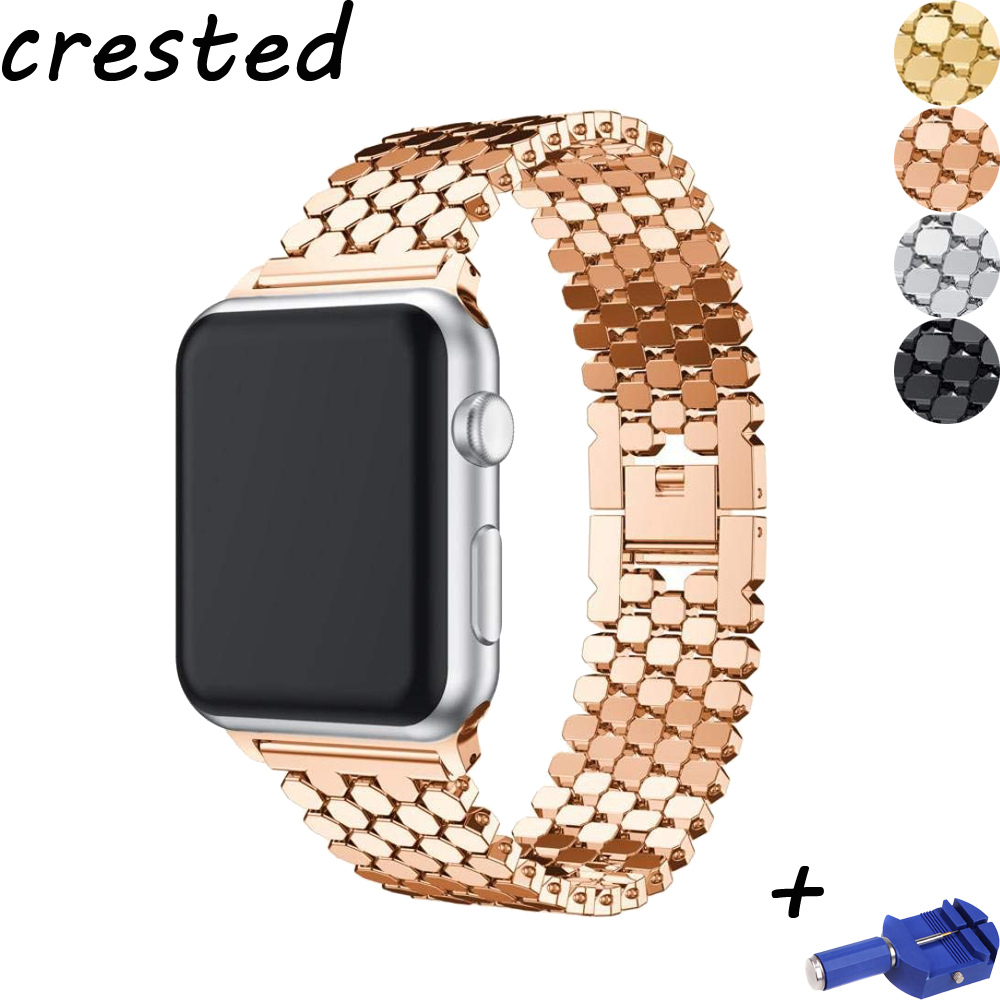 CRESTED enlace pulsera correa para apple watch banda 42mm/38mm/44mm/40mm iwatch serie 4/3/2/1 correa de muñeca de metal reloj correa de reloj