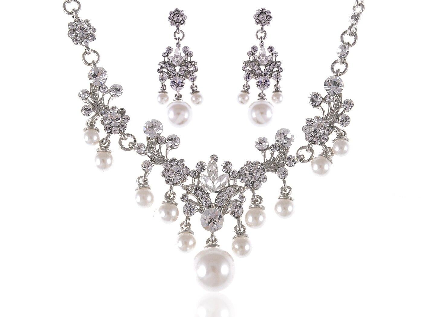 Wedding Silvery Tone Flower Stamen Faux Pearl Bead Clear Crystal Rhinestone  Pendant Necklace Dangle Earrings Set