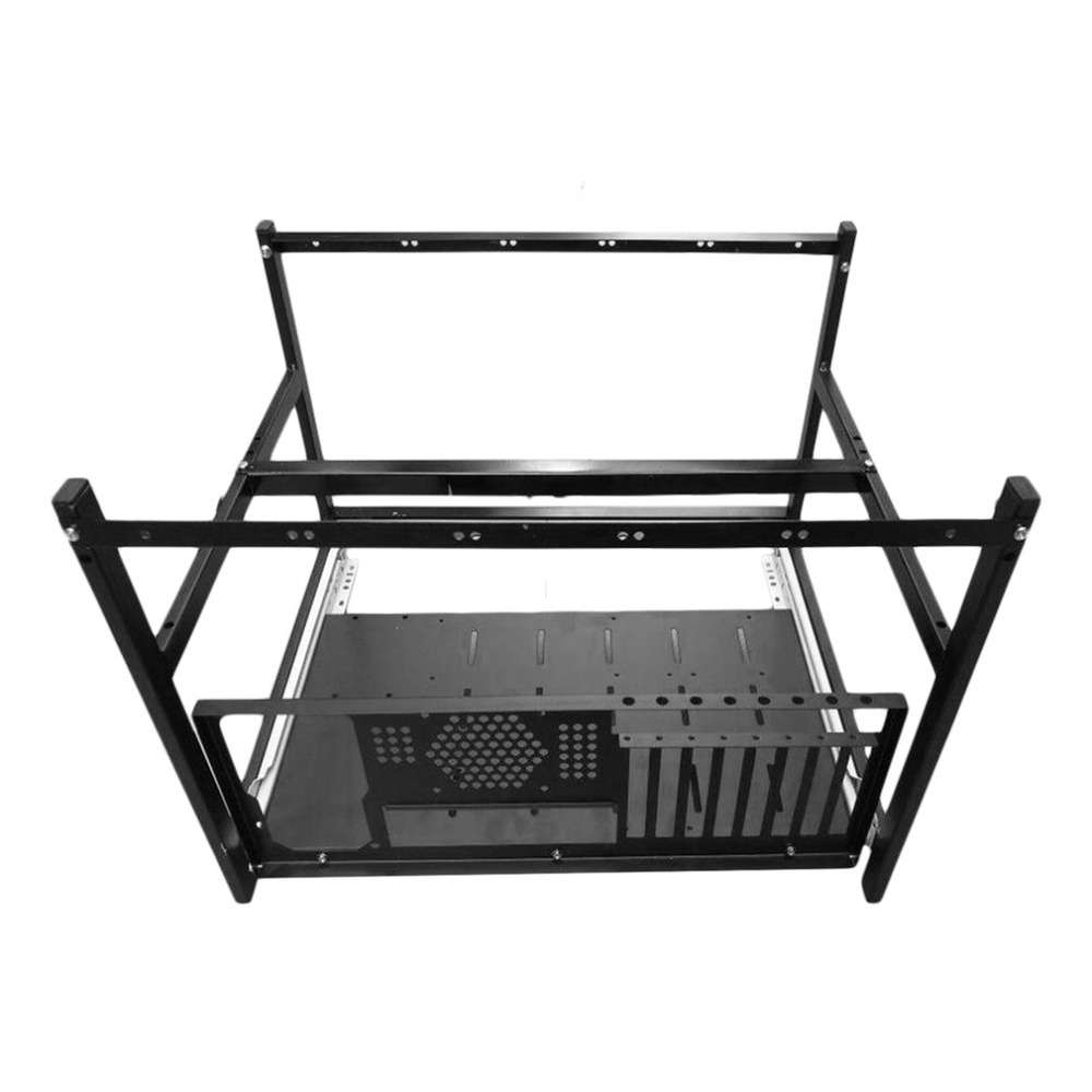 OUTAD Aluminum Steel Coin Open Air Mining Miner Frame Rig Case Suitable For 6 GPU4 Fans BTC LTC ETH Ethereum