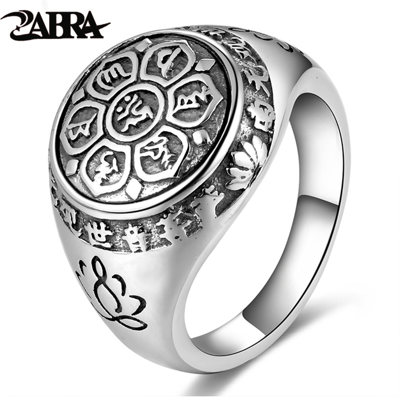 ZABRA Vintage Genuine 925 Sterling Silver Rings For Women Female Six Words Budda Mantra Biker Mens Signet Rings Male Jewelry