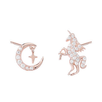 Unicorn Moon Zirconia Stud Earrings