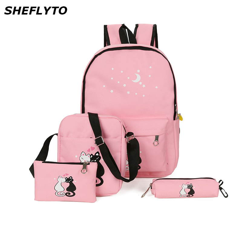 3Pcs/set School Bag for Teenagers Canvas Backpacks Mochil Women Cute Cartoon Cat Printing Backpacks Female Preppy Style Rucksack3Pcs/set School Bag for Teenagers Canvas Backpacks Mochil Women Cute Cartoon Cat Printing Backpacks Female Preppy Style Rucksack