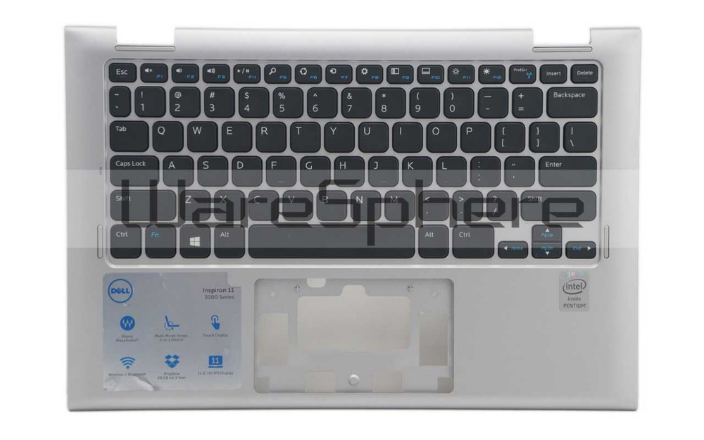 A- Top Cover Upper Case with Keyboard (Silver US) for Dell Inspiron 11 3147 3148 07W4K6 7W4K6 scomas laptop a case base back cover for dell inspiron 17r n7010 yvtpc k74hc black blue red a cover with cable lcd hinges