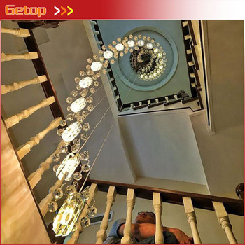 Modern E14 LED Stair Lamps Compound Rotation Crystal Pendant Lights Bedroom Restaurant Lighting Fixture Livingroom Hang Lamps