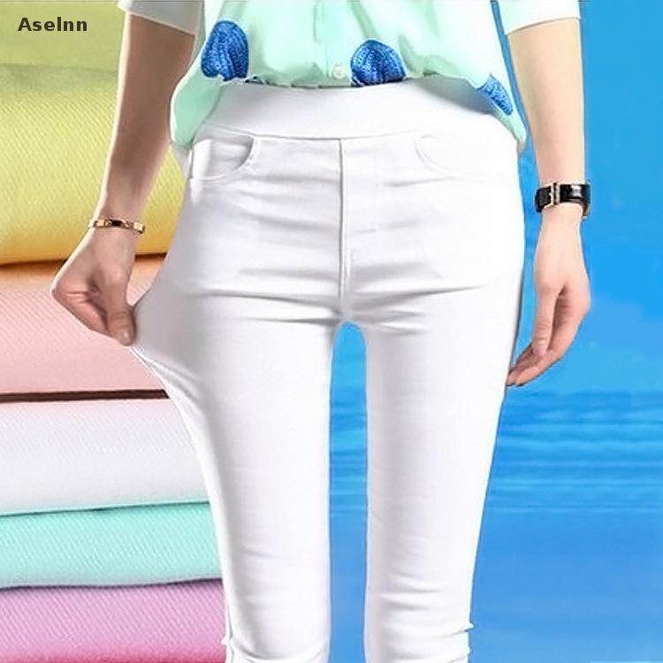 2020 Spring New Fashion Women Pencil Pants Casual Elastic Waist Skinny Trousers Plus Size Black White Stretch Pants 2