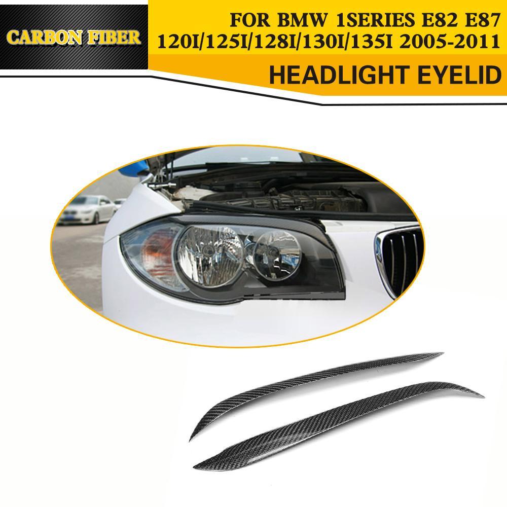 Carbon Fiber Auto Car Side Eyelids For BMW 1Series E82 E87 120i 125i 128i 130i 135i 2005-2011 car styling trunk lid rear emblem badge chrome letters sticker 125i 128i 130i 135i for bmw 1 series f20 f21 e81 e82 e87 e88