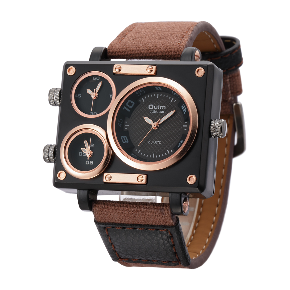 Oulm Square Clock Male Fabric Strap Watch Original Multiple Time Zone Wristwatches Men Watches Brand Luxury
