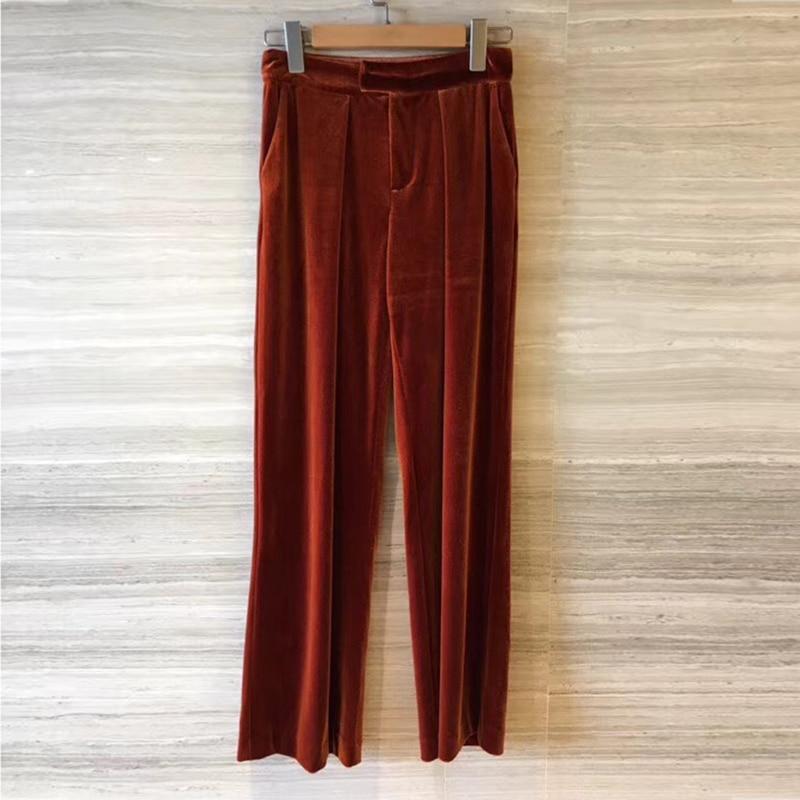 Piste Femmes Femelle Velours 2018 Fly Casual Wasited Pantalon Haute Droit Zipper Brun Marron Lâche Rgf6qR