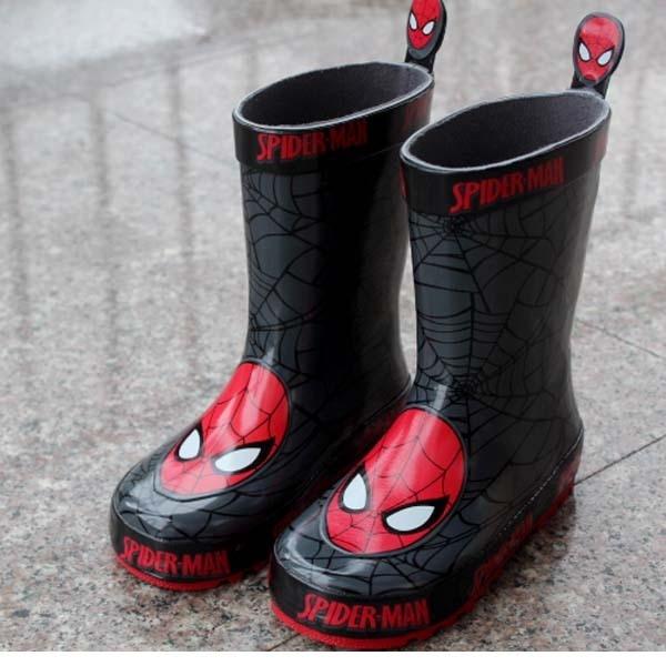 Бесплатная доставка детская Обувь Дождь Сапоги Человек-Паук Зима Мальчиков Снегоступы Мальчиков обувь Детская обувь детская Rubberboots