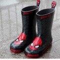 Envío libre Botas de Lluvia de Los Niños Del Hombre Araña Muchachos Del Invierno Del Bebé Botas de Nieve Niños zapatos de Bebé de la manera zapatos de Los Niños Rubberboots