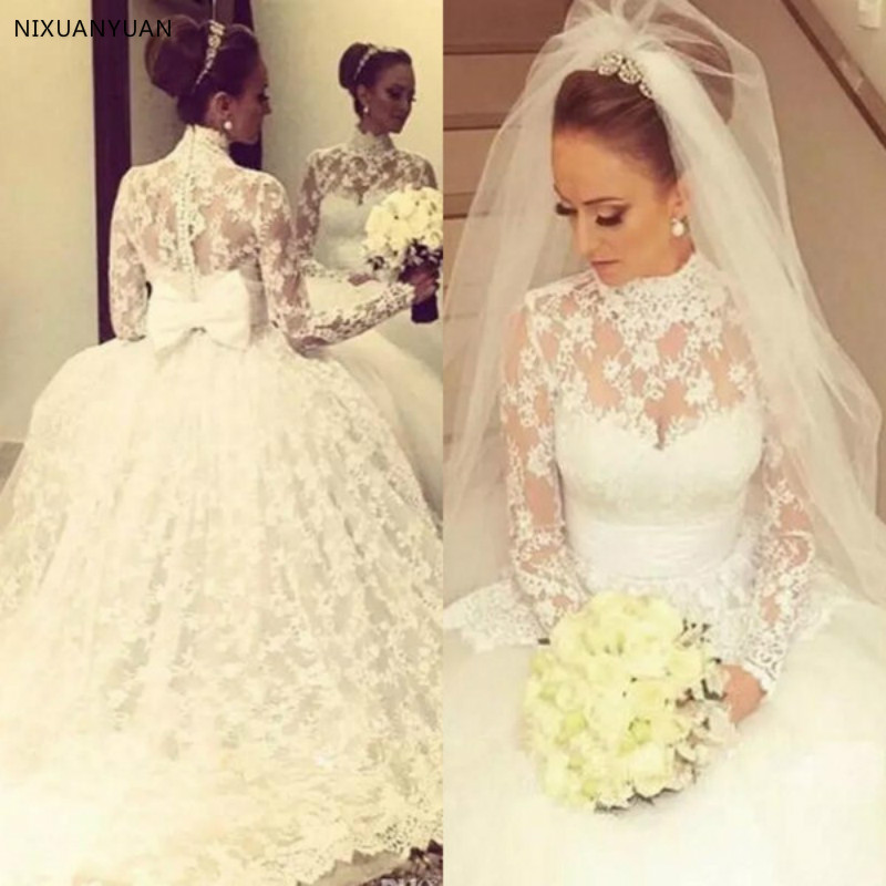 Vintage High Neck Full Lace Wedding Dresses 2019 Princess Sheer Neck Long Sleeves Arabic Dubai Bow Ball Gown Bridal Gowns Novias