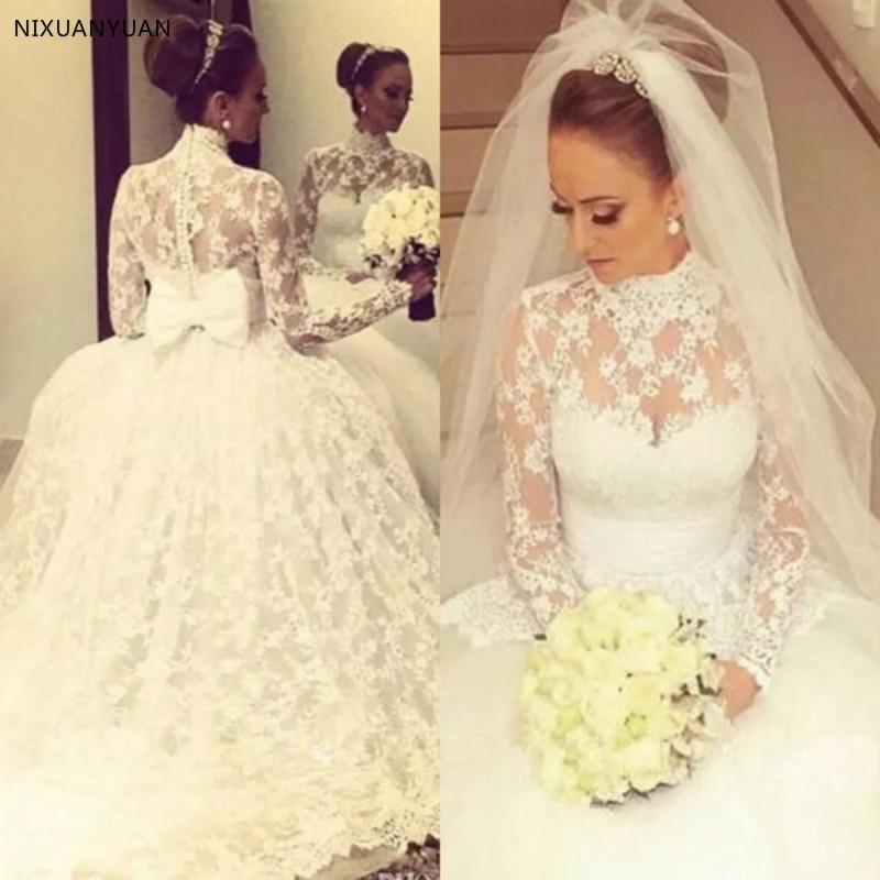 Vintage High Neck Full Lace Wedding Dresses 2020 Princess Sheer