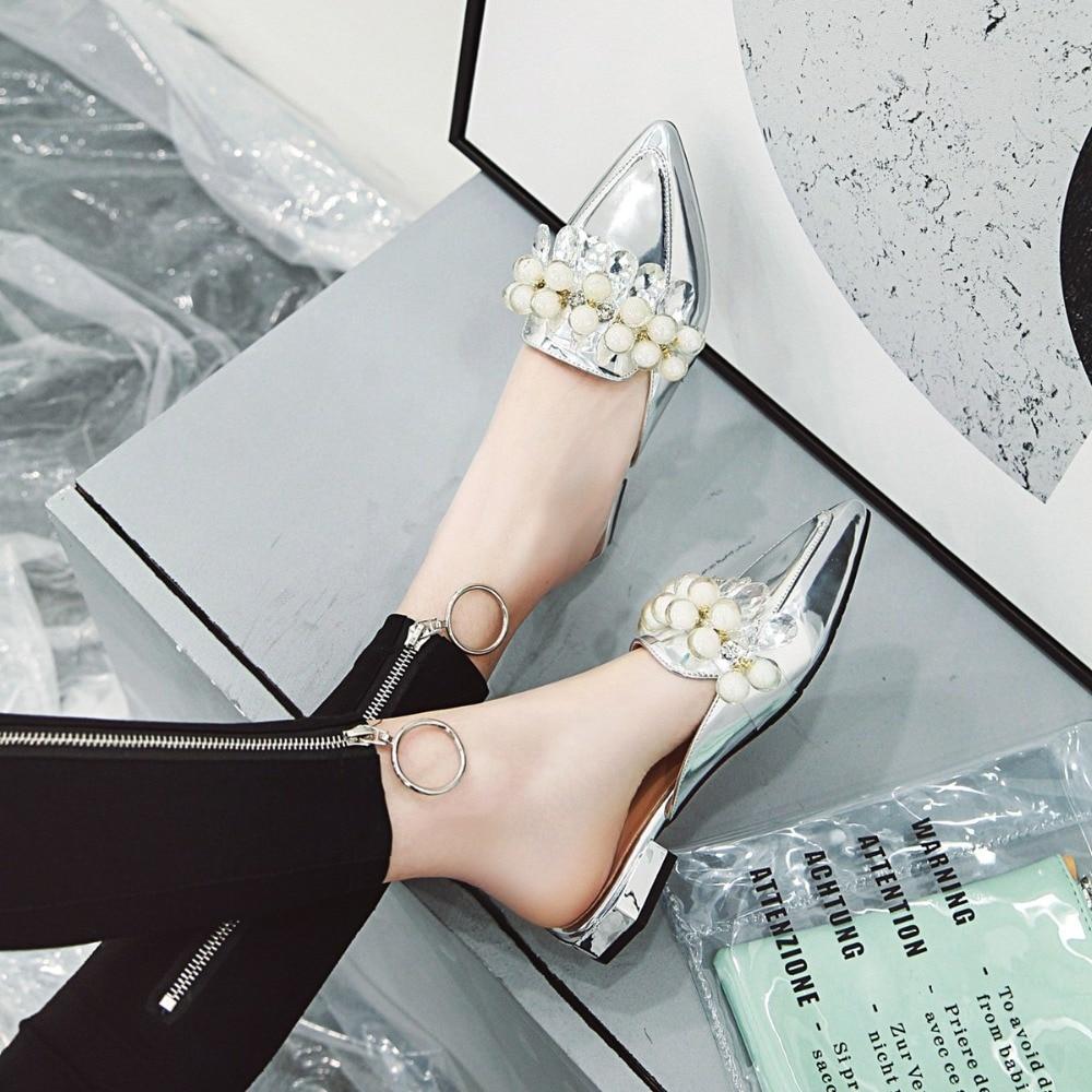 Option Pantoufles Black Multi Des yellow 48 white Femmes Tailles pink De D'été Mode 34 À couleur En Pointu Cuir Verni Perles sliver Simple Brillant Chaussures RAwv4tqR