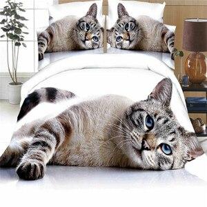 Image 1 - זאבים חמוד חתול כלב צילום הדפסת מצעים סט שמיכה שמיכת כיסוי חי פרא שבטי 3D מיטת כיסוי שני ציפות מצעים סט