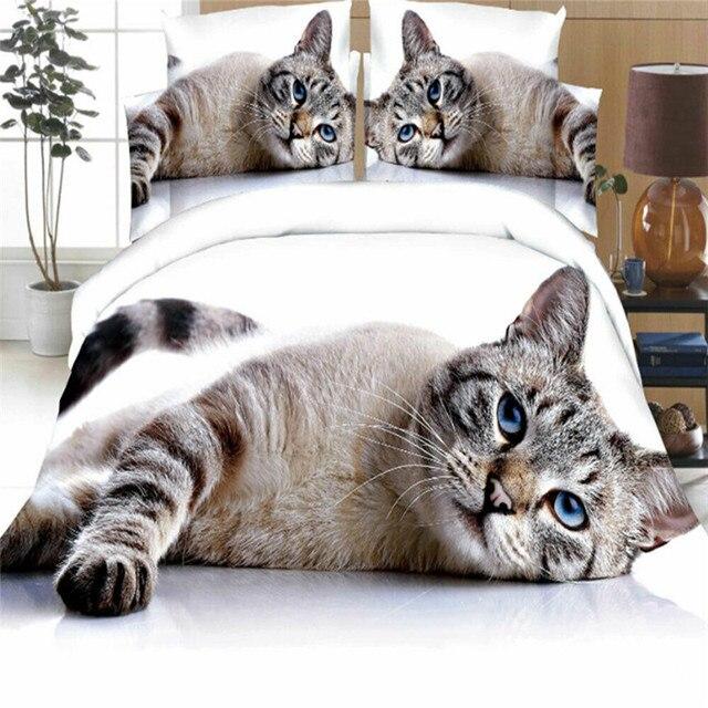 זאבים חמוד חתול כלב צילום הדפסת מצעים סט שמיכה שמיכת כיסוי חי פרא שבטי 3D מיטת כיסוי שני ציפות מצעים סט