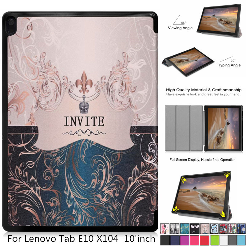 Painted leather 3 fold Magnetic cover case For Lenovo Tab E10 X104 Tabl