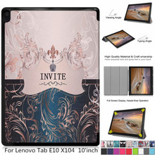 Painted leather 3 fold Magnetic cover case For Lenovo Tab E1