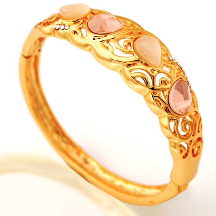 Yellow Gold Color Bracelets Bangles Austrian Rhinestone Bangles Jewelry Gift For Women MGC H5161