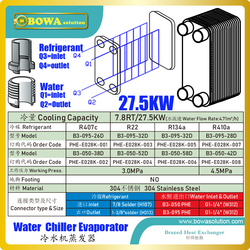 7.8RT/27.5KW plate heat exchanger as evaporator of water chiller, available for high-viscosity fluids and low energy consumption