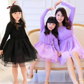 Fashion Family Clothes Voile+Lace Knee Length Girls Dress Family Dress for Mother and Daughter (Colors: Violet, Black) DR03